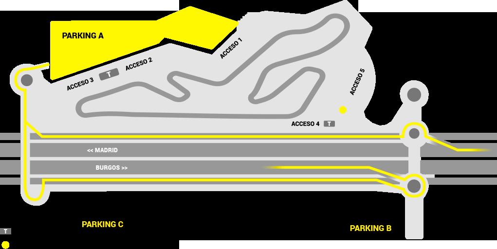 Acceso a los parkings del circuito